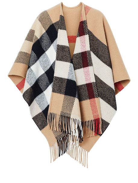 BURBERRY Classic Check Wool & Cashmere Cape in camel