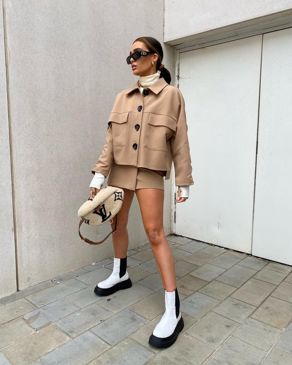 shoes white boots cropped jacket shorts
