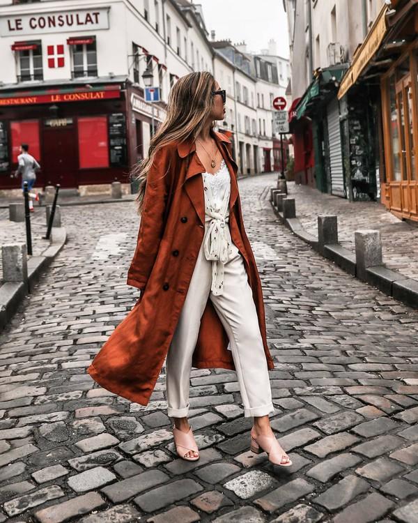 coat trench coat long coat sandals white pants blouse