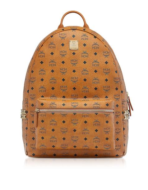 Mcm Cognac Visetos Large Stark Backpack W/side Studs