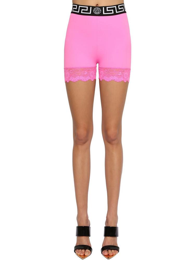 VERSACE Stretch Lycra Cycling Shorts W/lace in fuchsia