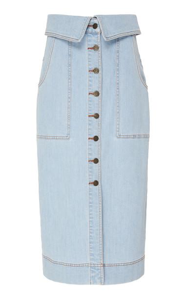 Ulla Johnson Andi Light Wash Foldover Skirt Size: 0 in blue