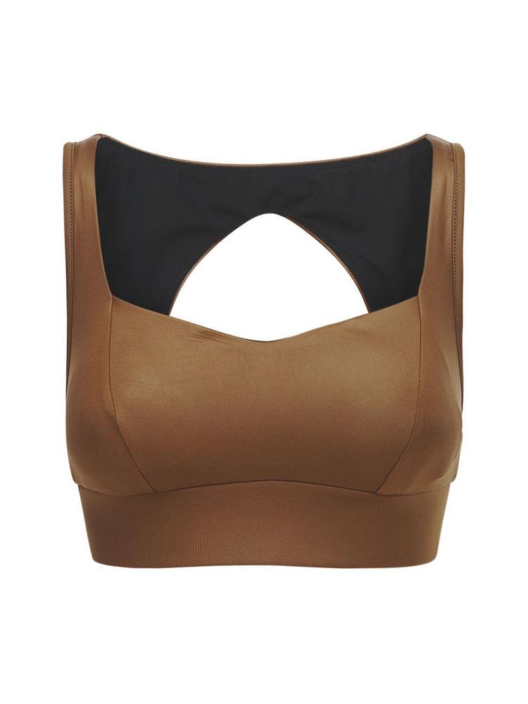 MICHI Rebel Gloss Bra Top in brown