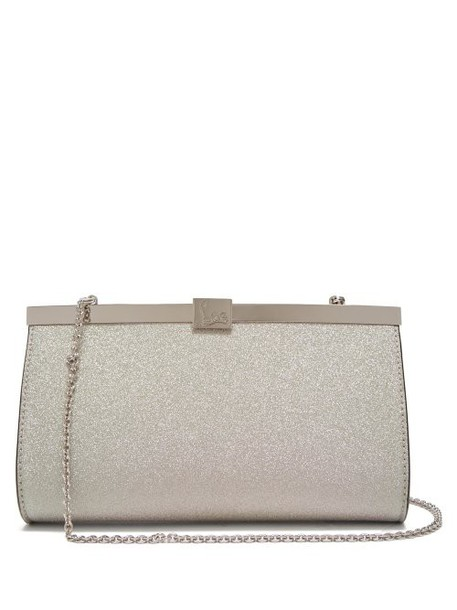Christian Louboutin - Palmette Glittered Leather Clutch Bag - Womens - White Multi