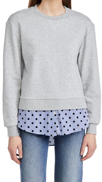 Jason Wu Sweatshirt with Stripe Flocking Combo in blue / grey
