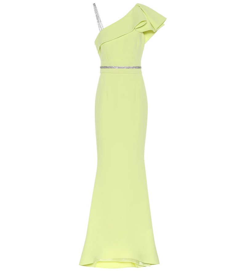 Safiyaa Embellished crêpe gown in green