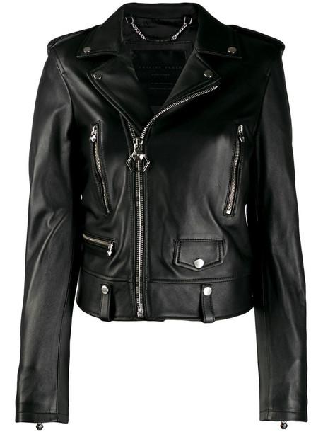 Philipp Plein slim-fit biker jacket in black