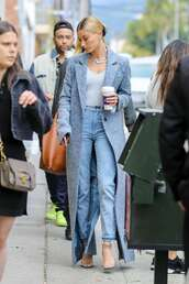 top,grey,grey top,jeans,coat,hailey baldwin,model off-duty,streetstyle,celebrity,spring outfits