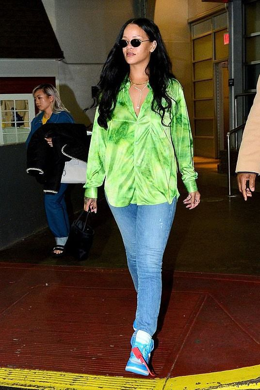 top jeans denim rihanna celebrity spring outfits blouse shirt