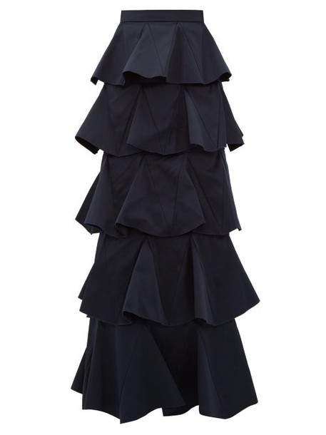 Maison Rabih Kayrouz - Tiered Cotton Blend Maxi Skirt - Womens - Navy