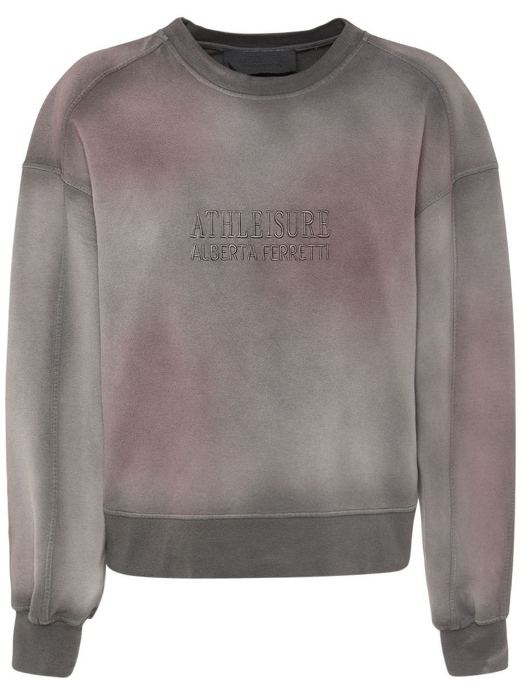 ALBERTA FERRETTI Cotton Jersey Logo Sweatshirt in grey / multi