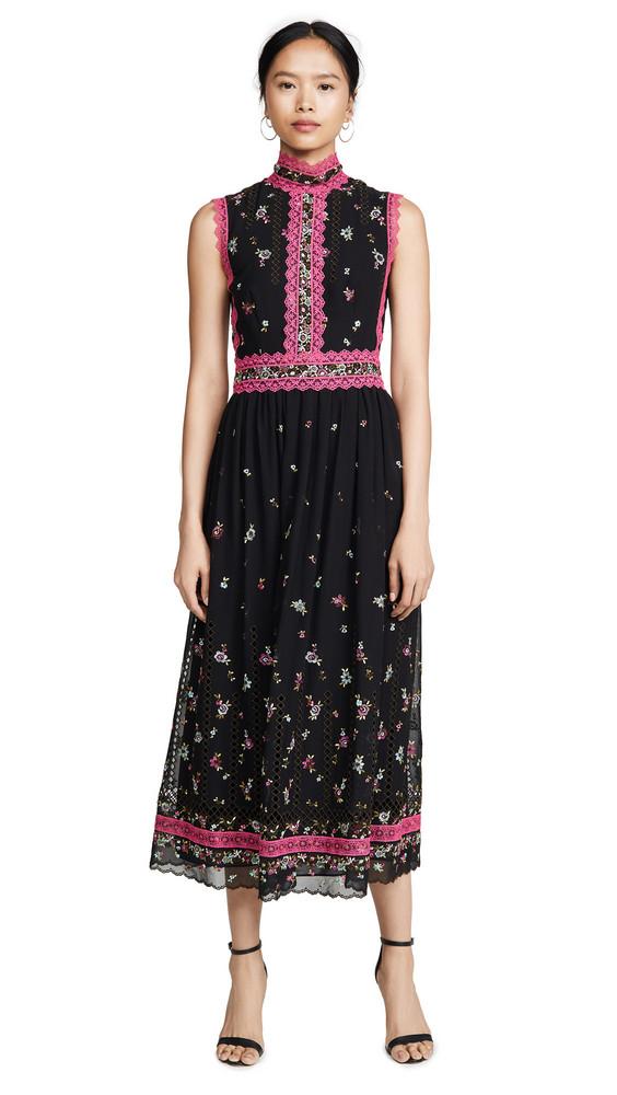 Costarellos Embroidered Dress in black / fuchsia