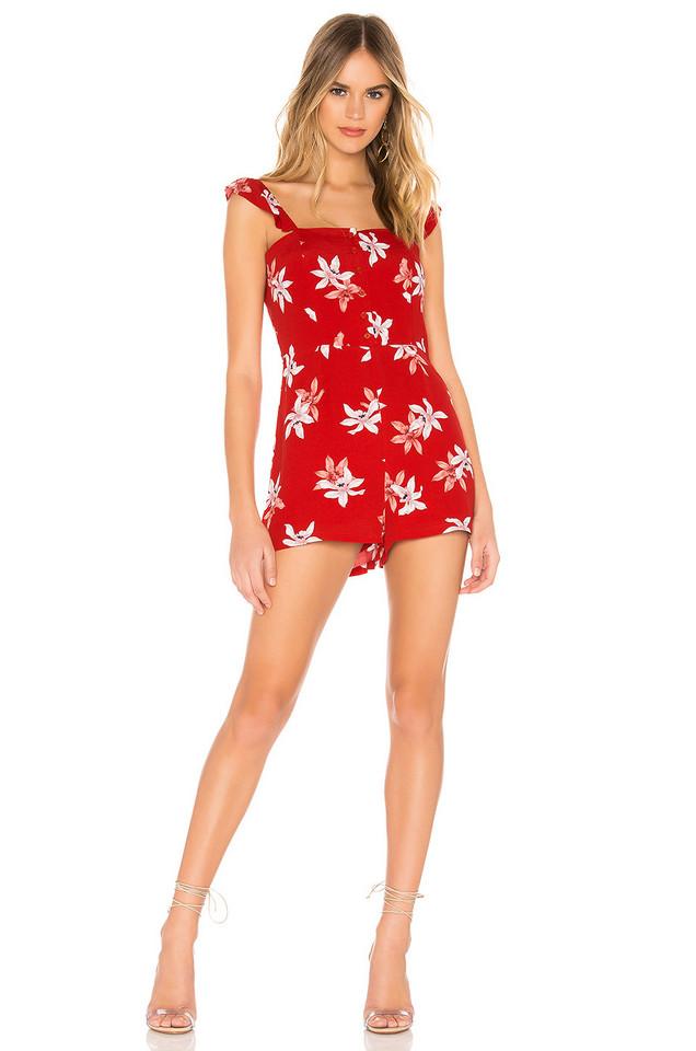 BB Dakota Daffodils and Chill Romper in red