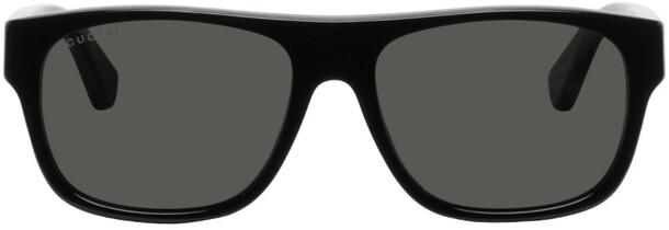 Gucci Black Rectangular Stripe Sunglasses in green / red