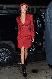 coat,celebrity,irina shayk,model off-duty,boots,fall outfits