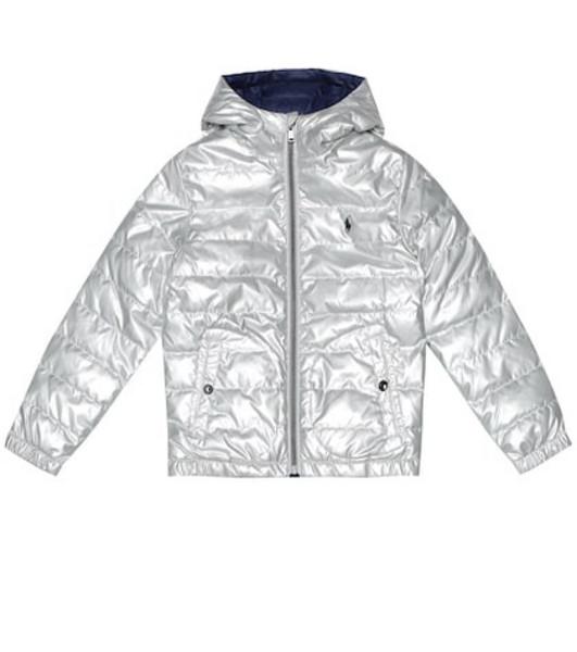 Polo Ralph Lauren Kids Reversible metallic quilted down jacket in silver