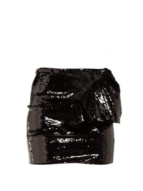 Alexandre Vauthier - Ruffled Sequinned Mini Skirt - Womens - Black