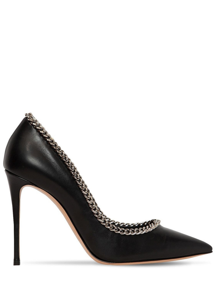 CASADEI 100mm Chained Leather Pumps in black