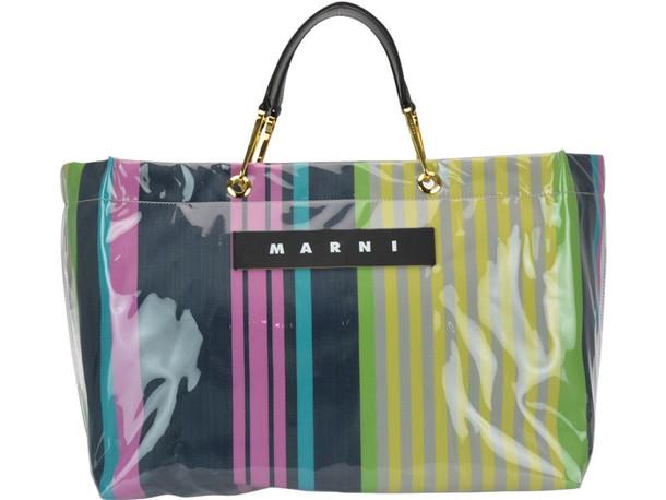Marni Logo Striped Shopping Bag in pink