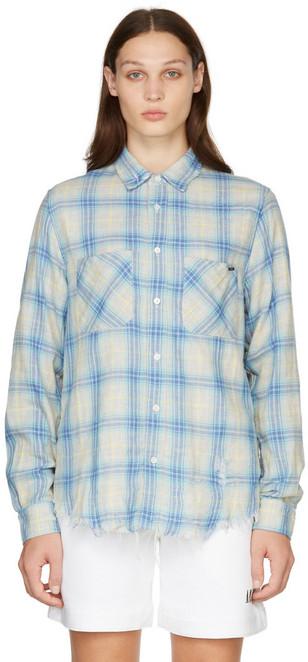 AMIRI Multicolor Check Distressed Shirt in blue
