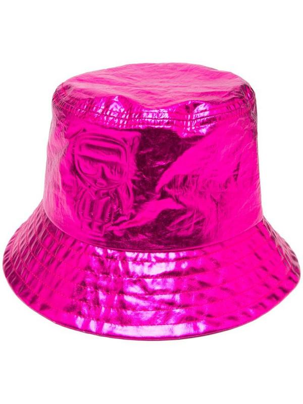 Karl Lagerfeld metallic-tone bucket hat in pink