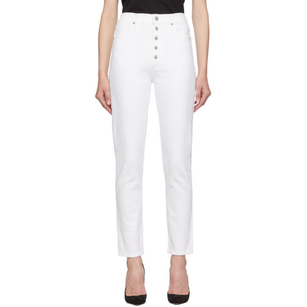 Citizens of Humanity White Exposed Fly Olivia Crop High-Rise Slim Jeans