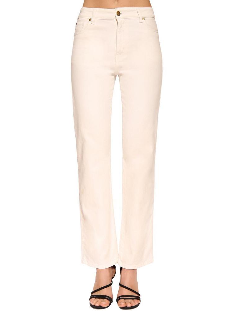BA & SH Cabril High Waist Straight Denim Jeans in white