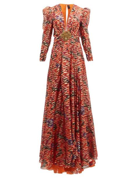 Dundas - Embellished Floral Print Fil Coupé Silk Blend Gown - Womens - Pink Multi