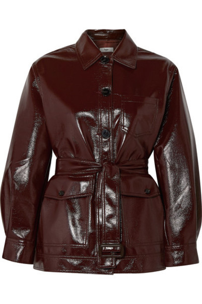 Frankie Shop - Ilenia Belted Vinyl Jacket - Chocolate