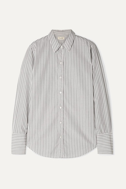 Nili Lotan - Helen Striped Cotton-poplin Shirt - Gray