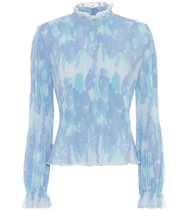 Ganni Printed pleated georgette blouse in blue