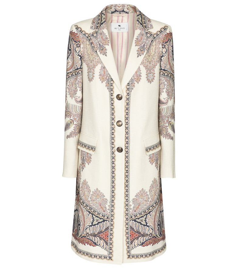 Etro Paisley linen, silk and cotton coat in white