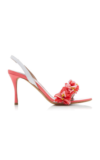 Tabitha Simmons Follie Floral-Embellished Patent Leather Sandals Size: in pink