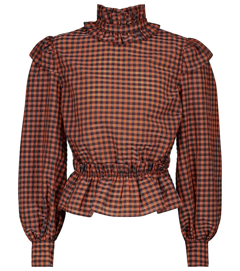Ganni Checked cotton-blend top in red