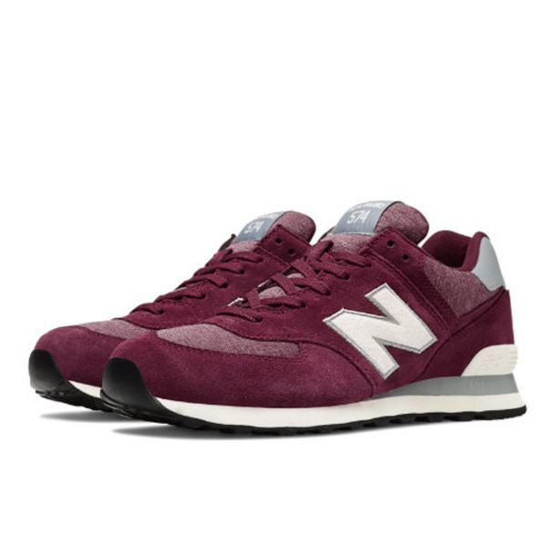New Balance Pennant Pack 574 Men's 574 Shoes - Burgundy, Off White (ML574PMW)