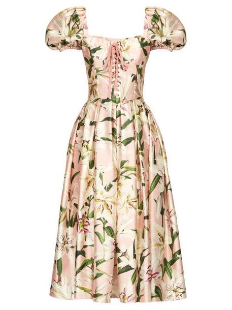 Dolce & Gabbana - Floral Print Shantung Bustier Dress - Womens - Pink Multi