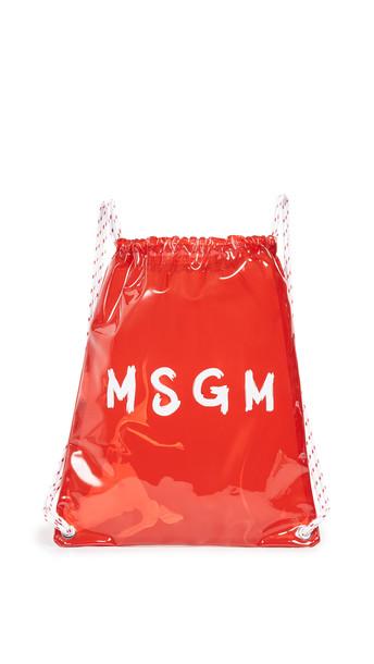backpack white red bag