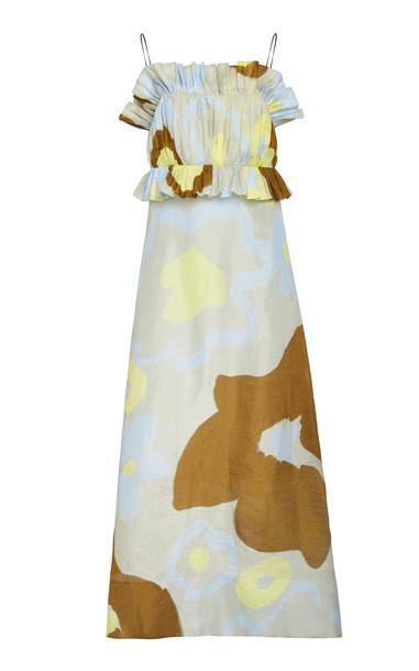 LEE MATHEWS Kaho Linen-Silk Maxi Dress in print