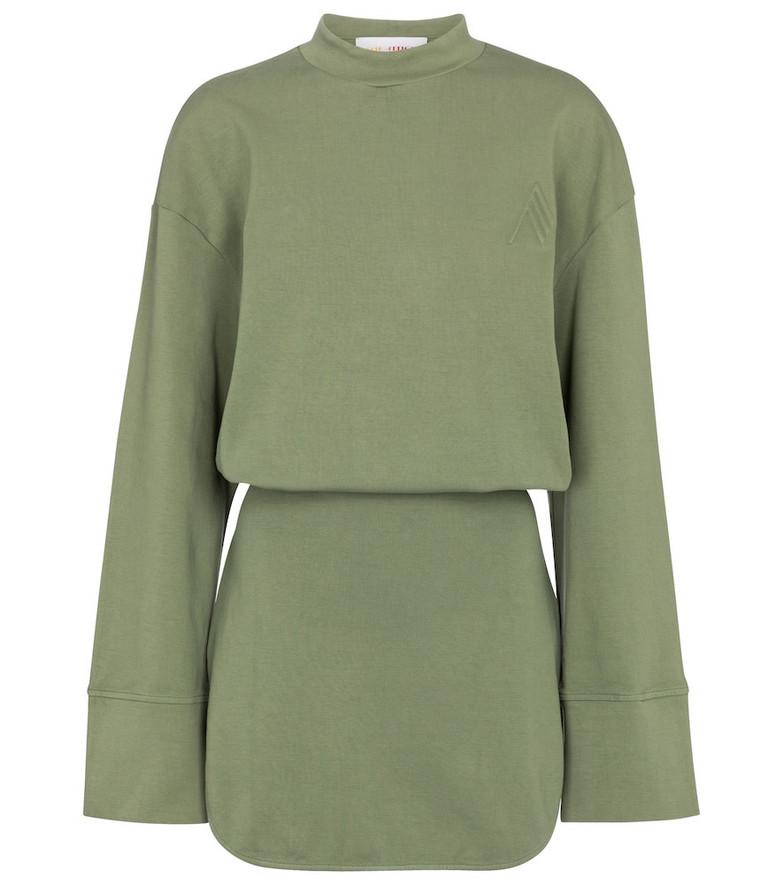 The Attico Cotton jersey minidress in green