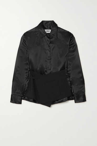 MM6 Maison Margiela - Layered Wool And Charmeuse Shirt - Black