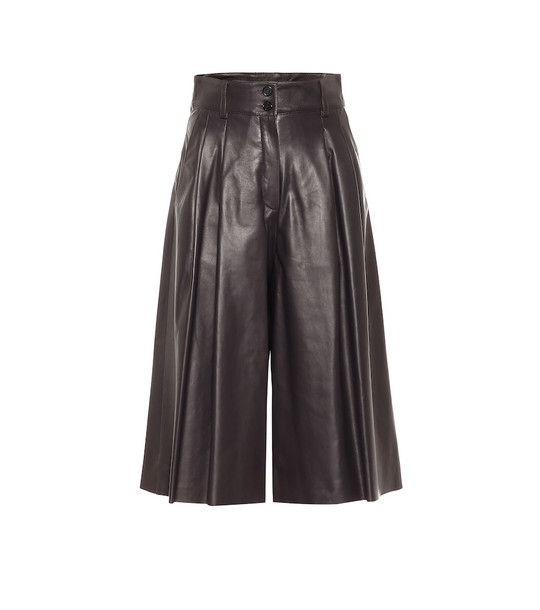 Dolce & Gabbana High-rise leather culottes in brown