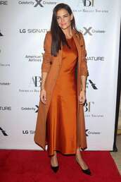 dress,orange,orange dress,midi dress,monochrome outfit,katie holmes,celebrity,coat,silk,silk dress,slip dress