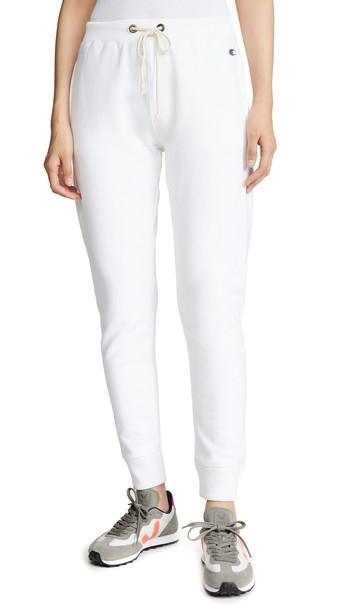 Champion Premium Reverse Weave Elastic Cuff Pants in white