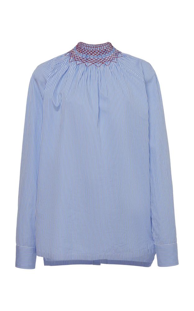 Prada Embroidered Smocked Cotton-Poplin Shirt Size: 44 in blue