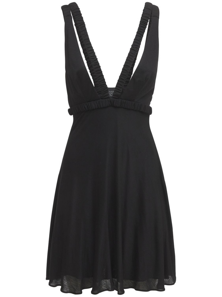 GIOVANNI BEDIN Deep V Viscose Jersey Mini Dress in black
