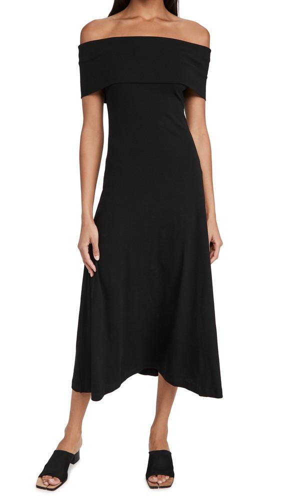 Rosetta Getty Sleeveless Banded Off Shoulder Dress in black