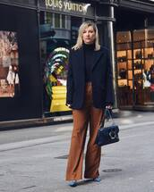 jacket,blazer,oversized,wool,wide-leg pants,high waisted pants,blue bag,pumps,turtleneck sweater