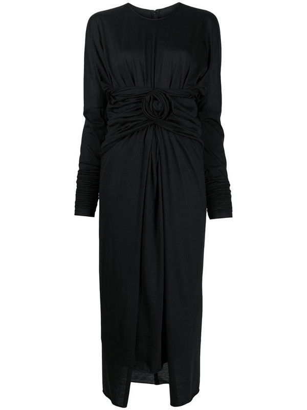 Dolce & Gabbana front-tie midi dress in black