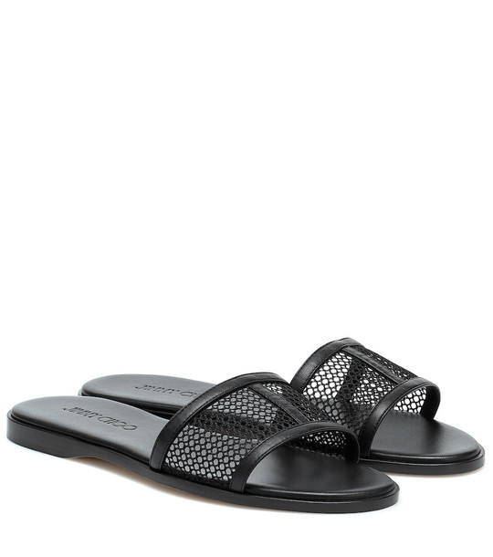 Jimmy Choo Minea leather and mesh slides in black