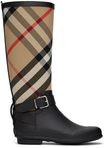 Burberry Black Vintage Check Simeon Rain Boot